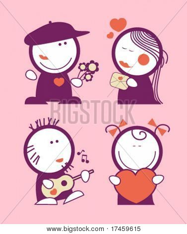 Set of Valentine in love funny peoples icons.