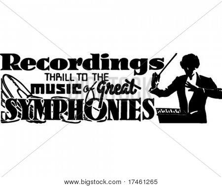 Grabaciones sinfonías - anuncio Retro arte Banner