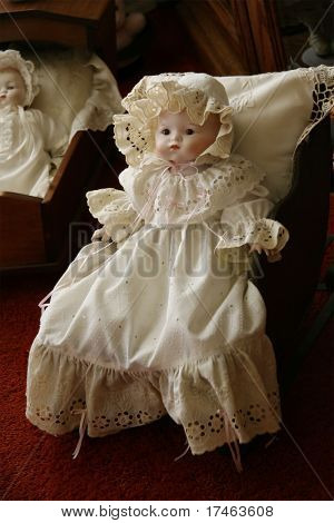Victorian Antique Doll in Old Fashioned Dress