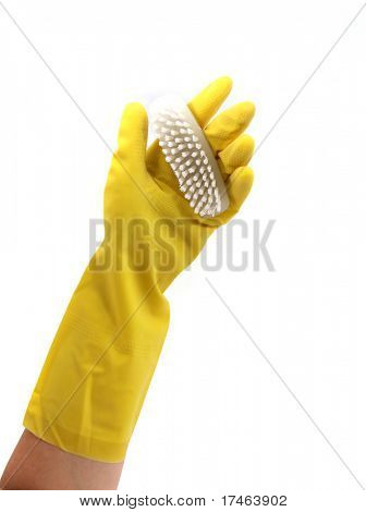 Latex Glove For Cleaning Holding Fingernail Scrubber