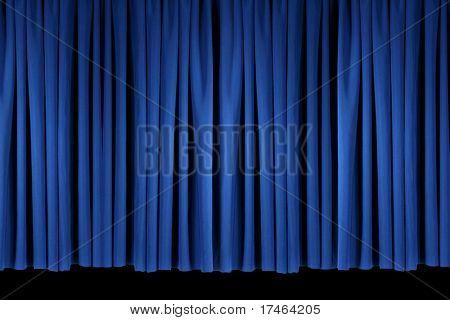Flat Panel of Blue Stage Theater Drapes Lit With Stagelights