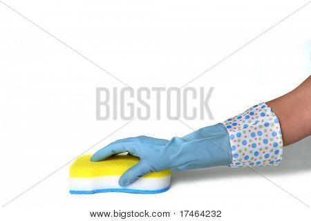 Latex Glove Using a Scrub Sponge