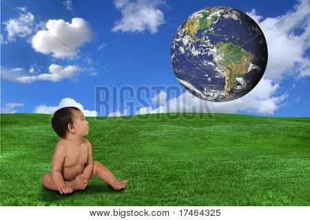 Baby Looking up Curiously at the Globe Concept of Future Generations