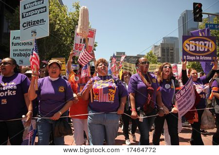 LOS ANGELES - May 1: May Day Immigration Protest Rally Against Arizona's New Law on May 1, 2010 in Los Angeles, California.