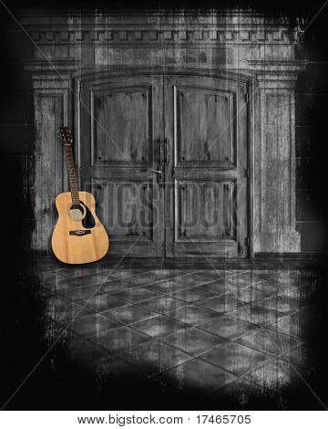 Acoustic guitar against a dark grunge hallway background