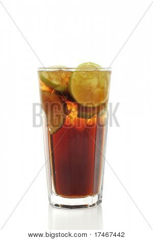 Refreshment Highball Drink made of Rum, Vodka, Gin, Tequila, Cola and Lemon. Isolated on White Background.