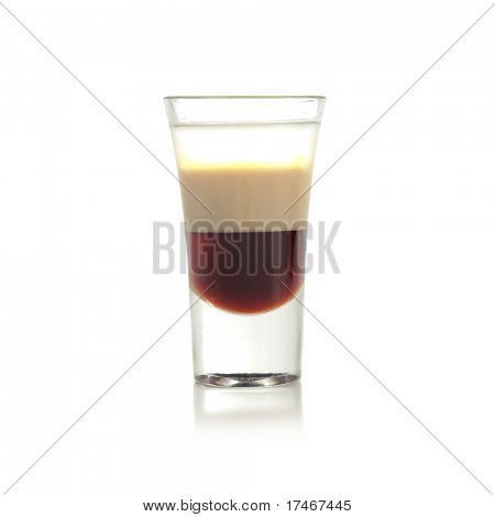 Hard Drink made of three Liqueur: Coffee Liqueur, Cream with Irish Whiskey. Isolated on White Background.