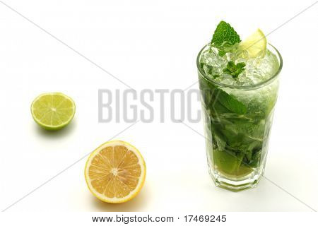 Refreshment Alcoholic Drink made of White Rum, Sugar, Lime, Carbonated Water and Mint. Lime and Lemon Garnish. Isolated on White Background.