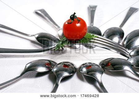 Food Still Life with Flatware and Cherry Tomato