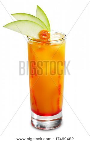 Alcoholic Cocktail made of Liqueur, Rum, Pineapple Juice and Grenadine Syrup Served with Apple Slice. Isolated on White Background