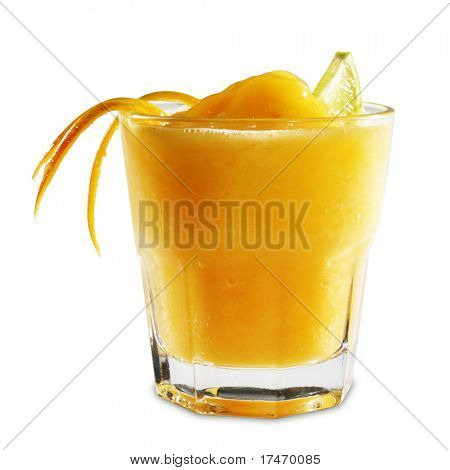 Fruit Healthy Cocktail from Mango and Tangerine Served with Lime Slice. Isolated on White Background