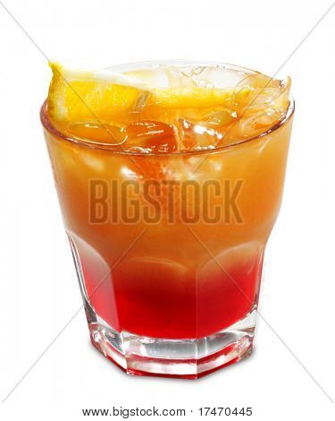 Alcoholic Cocktail made of Campari Bitter and Orange Juice. Isolated on White Background