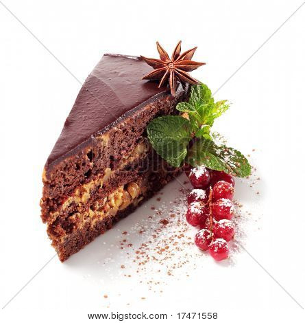 Chocolate Iced Pie with Anise, Fresh Berries and Mint. Isolated on White Background