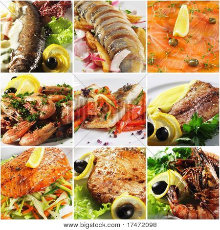 Collage from Photographs of Seafood Plate