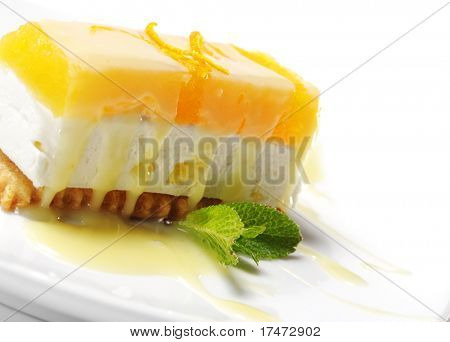 Dessert - Orange Cheesecake with Fresh Mint