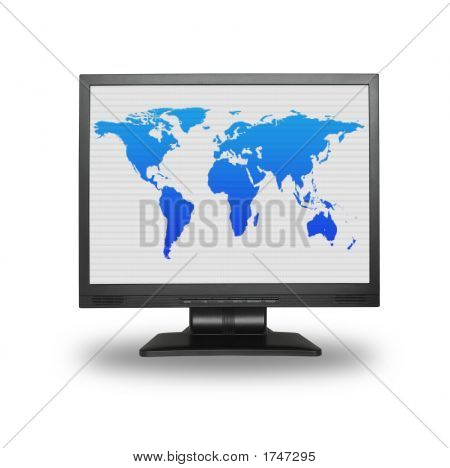 Lcd Screen With World Map