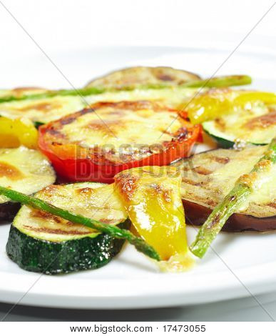 """Side Dishes - Grilled Vegetables under """"Sabayon"""" Sauce with Fried Green Asparagus"""