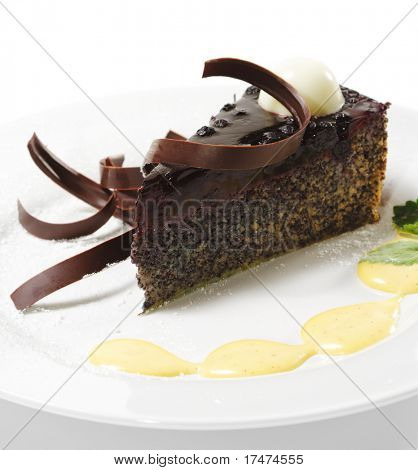 Dessert - Chocolate Cake with Cherries Jam and Sauce
