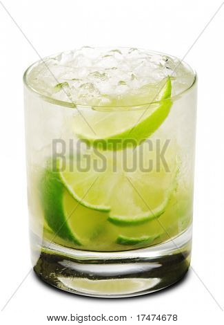 Caipirinha - National Cocktail of Brazil Made with Cachaca, Sugar and Lime. Isolated on White Background