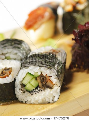 Japanese Cuisine - Conger Sushi Set with Salad Leaf and Cucumber