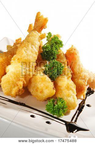 Japanese Cuisine - Deep-fried Shrimps and Vegetables