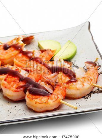 Japanese Skewered Shrimps with Mango