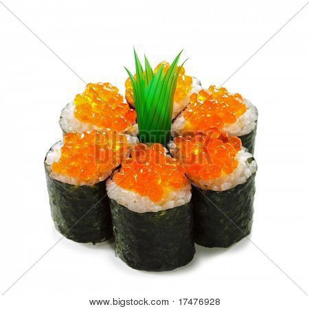 Ikura Maki Sushi - Roll with Cream Cheese inside. Topped with Ikura (Salmon Roe)