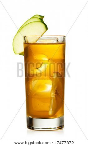 Alcoholic Cocktail with Apple and Lemon Slice