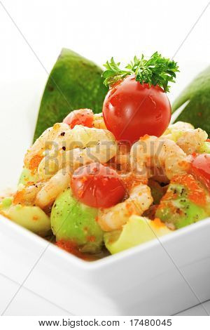 Salad with Avocado, Shrimps, Flying Fish Roe, Kiwi Sauce and Herbs