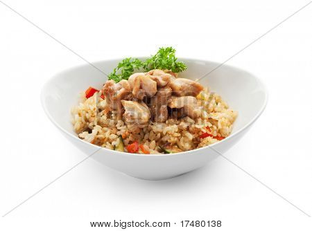 Rice with Chicken Slice, Cabbage, Mushrooms and Paprika