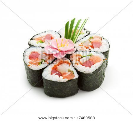 Seafood Maki Sushi - Roll made of Tuna,  Salmon, Scallop and Tobiko (flying fish roe) inside. Garnished with Pink Flower and Spring Onions