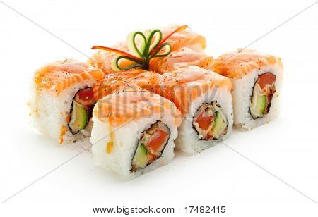 Maki Sushi - Roll made of Smoked Eel, Cream Cheese and Deep Fried Vegetables inside. Fresh Salmon outside