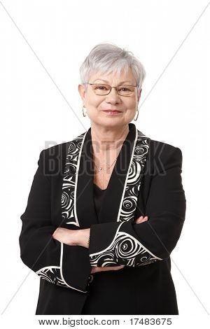 Portrait of active senior woman smiling, isolated on white.?
