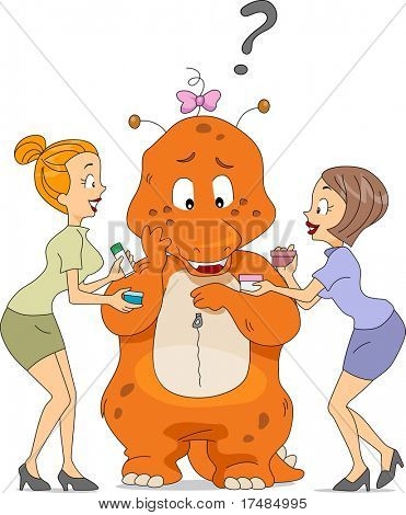 Illustration of Sales Representatives Offering Cosmetics to a Mascot