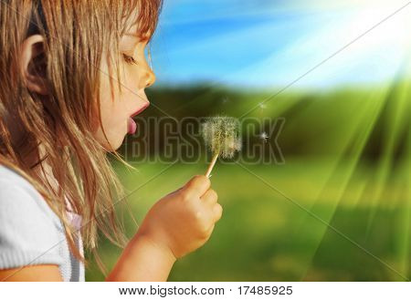 Summer fun, sweet little girl blowing dandelion on the meadow