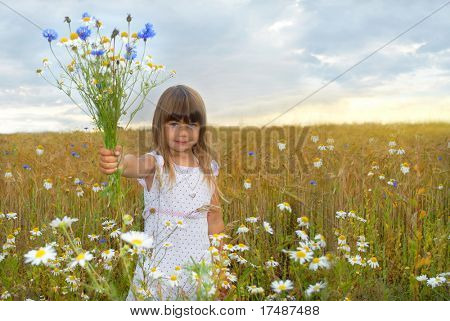 Giving you are bouquet of wildflowers