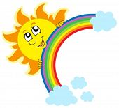 Lurking Sun with rainbow - vector illustration.