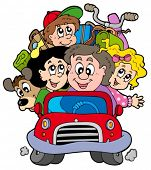 picture of family vacations  - Happy family in car on vacation  - JPG