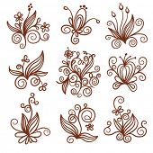 stock photo of floral design  - set of elements floral design - JPG