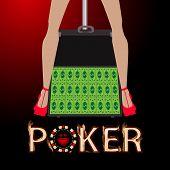 Poker Case With Money, Striptease Female Legs poster