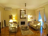 stock photo of air conditioning  - interior of a yellow living room - JPG