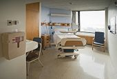 image of hospice  - Clean Empty Hospital Room Ready for One Patient - JPG