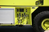 foto of humvee  - Yellow Humvee Firetruck on Aerospace Plant - JPG