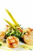 Grilled Sea Scallop with Zucchini Spaghetti and Spice Sauce