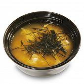 Постер, плакат: Японская кухня мисо суп сделаны из мяса краба и потекли пирожные