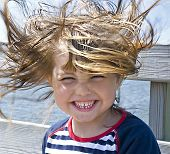 image of blown-up  - Windy hair - JPG