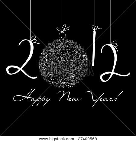 2012 Happy New Year background. Black and White background