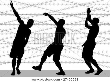 Vector image of a man on backdrop of barbed wire