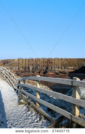Freezing Snow Covered Path On Cliff Fenced Walk