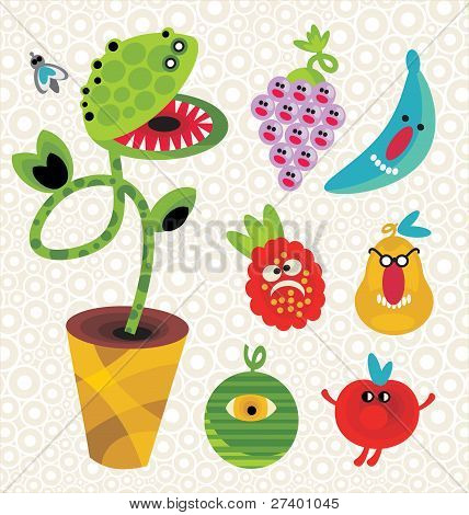 Set of cute plant monsters.